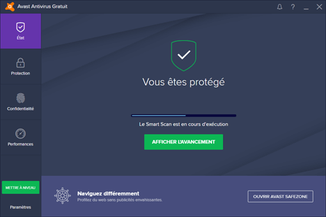 Détection de menaces Avast